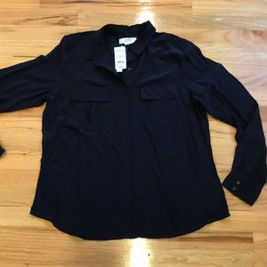NWT Joe Fresh silk shirt black Sz XL